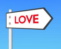 3D love signpost. 3d signpost point to love Stock Photo