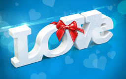 3D love text with bow and hearts Royalty Free Stock Image