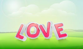 3D Love text for Happy Valentines Day celebration. Stock Photos