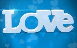 3D love text with hearts Royalty Free Stock Image