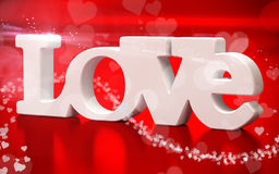 3D love text with hearts Stock Photos