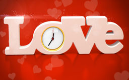 3D love text with watch Stock Images