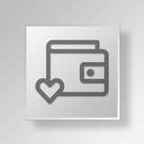 3D  love wallet Button Icon Concept Royalty Free Stock Photography