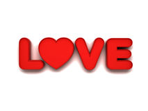 3d love word concept with red heart on white background with shadow, valentines day Stock Images