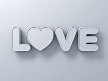 3d love word concept with white heart on white background with shadow, valentines day 3D Stock Photo
