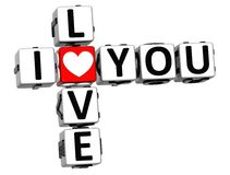 3D Love You Button cube text Stock Photo