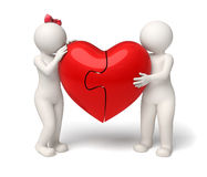 3d loving couple holding a red puzzle heart - Valentines Stock Photography