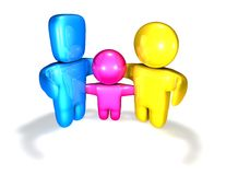 3d loving family together idea illustration render. Royalty Free Stock Photo