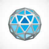 3d  low poly blue spherical object, perspective orb create. D with triangular facets. Abstract polygonal element for use as design structure on communication Stock Images