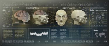 3D Low Poly brain scanning, HUD medical virtual graphic touch user interface, brain scanning accurate facial recognition royalty free illustration