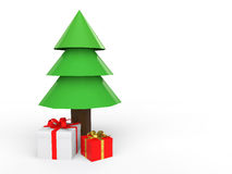 3d low poly Christmas tree and gift boxes. 3d render of low poly Christmas tree and gift boxes Royalty Free Stock Image