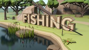 3D Low poly fishing land scene
