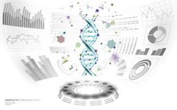 3D low poly gene therapy DNA HUD UI display. Future polygonal triangle point line healthy Blue abstract medicine genome. Engineering vector illustration future stock illustration