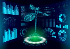 3D low poly green plant HUD UI display. Future polygonal triangle point line ecology problems solution abstract biology. Genome engineering vector illustration vector illustration