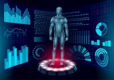 3D low poly human body HUD display doctor online. Future technology medicine laboratory web examination. Blood system. Disease diagnostics futuristic UI vector vector illustration