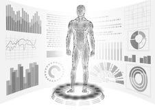 3D low poly human body HUD display doctor online. Future technology medicine laboratory web examination. Blood system. Disease diagnostics futuristic UI vector stock illustration
