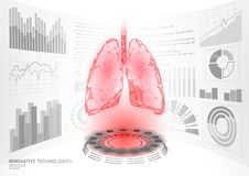 3D low poly human healthy lungs virtual laser surgery operation HUD UI display. Future technology polygonal medicine. Disease drug treatment. Blue medicine vector illustration