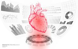 3D low poly human heart HUD display doctor online. Future technology medicine laboratory web examination. Blood system. Disease diagnostics futuristic UI vector stock illustration
