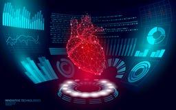 3D low poly human heart HUD display doctor online. Future technology medicine laboratory web examination. Blood system. Disease diagnostics futuristic UI vector royalty free illustration