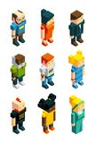 3D low poly peoples. Isometric user icons set vector illustration
