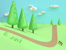 3d low poly-pine tree cartoon minimal style abstract nature green field hill mountain country road royalty free illustration