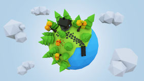 3D Low Poly Planet, rendering illustration.  stock illustration