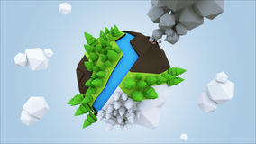 3D Low Poly Planet, rendering illustration.  royalty free illustration