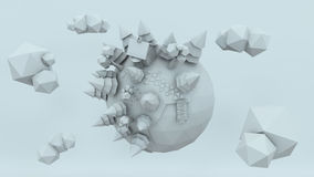 3D Low Poly Planet, rendering illustration, amazing white render.  vector illustration