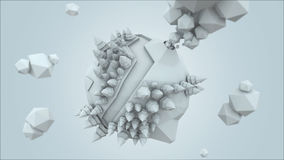 3D Low Poly Planet, rendering illustration, amazing white render.  stock illustration