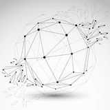 3d  low poly spherical object with black connected lines a Royalty Free Stock Images