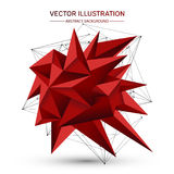 3D low polygonal geometric shape with connecting dots and lines.   Royalty Free Stock Photo