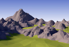 3D lowpoly abstract landscape. 3D render illustration - lowpoly abstract landscape stock illustration
