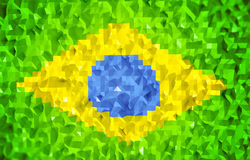 3d lowpoly Brazil flag. Simple 3d hexagon lowpoly Brazil flag background Royalty Free Stock Photography