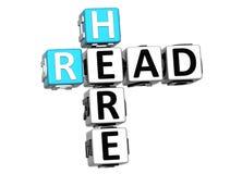 3D a lu ici des mots croisé Images libres de droits