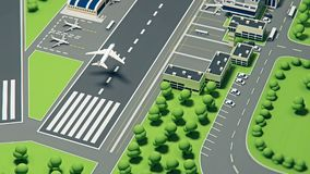 3d luchthaven met vliegtuigen vector illustratie