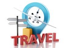 3d luchthavenraad, reiskoffers en vliegtuig reis concept Stock Afbeelding