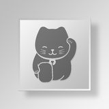 3D Lucky Cat Button Icon Concept Royaltyfri Foto