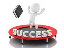 3d ludzie biznesu, szczęśliwy doskakiwanie dla sukcesu w trampoline royalty ilustracja