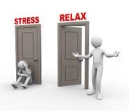 3d ludzie i stres - relaksuje drzwi. Obraz Royalty Free