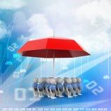3d ludzie pod czerwonego colour parasolem royalty ilustracja
