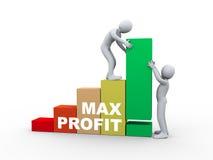3d ludzie pracuje z max zysków barami Obrazy Stock