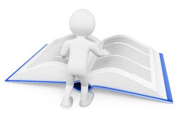 3d ludzie pytanie biel czytanie książki koncepcja uczenia się Fotografia Stock