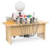 3d ludzie pytanie biel tło mikrofonów prasy konferencja odizolowane white Zdjęcia Stock