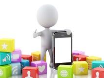 3d ludzie z telefonem komórkowym i app ikony na białym tle Zdjęcie Royalty Free
