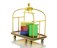 3d Luggage cart with colorful suitcases. Royalty Free Stock Photos
