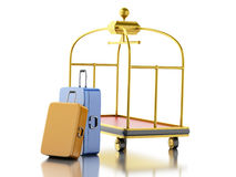 3d Luggage cart with suitcases. Travel concept. Royalty Free Stock Photography
