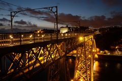 D. Luis Bridge by night Stock Photography