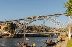 D. Luis bridge in Porto, Portugal on a sunny day Stock Photos