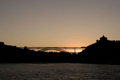 D. Luis bridge at sunset Royalty Free Stock Photo