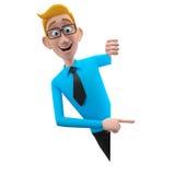 3d lustiger Charakter, sympathischer schauender Geschäftsmann der Karikatur Stockbild